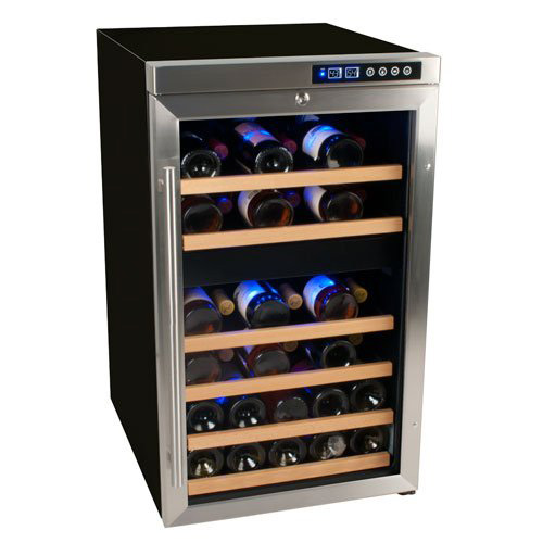 Edgestar 34 bottle free standing dual zone wine cooler for Best wine fridge brands